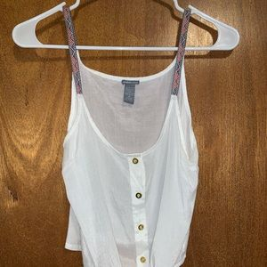 Charlotte Russe sheer white tie tank top